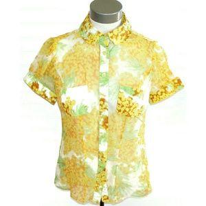 DIANE VON FURSTENBERG silk sheer floral blouse